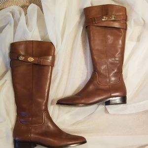 Coach Knee High Tan Leather Boots
